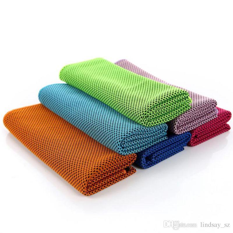 90 * 30 centímetros dupla camada de gelo Toalha de resfriamento de verão fresco frio Esportes Toalhas instantâneo Arrefecer toalha seca lenço macio respirável Ice cinto para Adulto Crianças