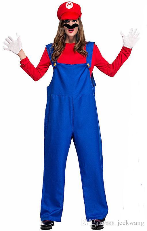 Mario and Luigi Costumes Adult Womens Super Plumber Bros Halloween Fancy Dress**