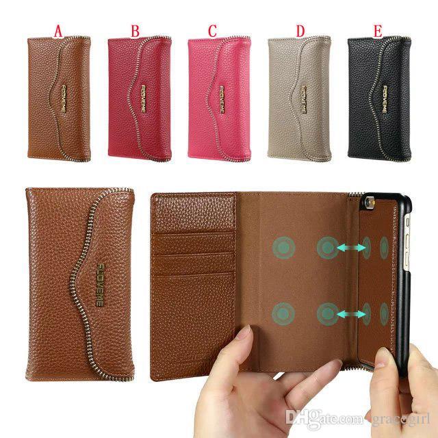 Floveme 2 in 1 Custodia portafoglio in pelle Iphone 7 I7 Iphone7 6 Plus 6S Carta magnetica Custodia in pelle staccabile magnetica Cover