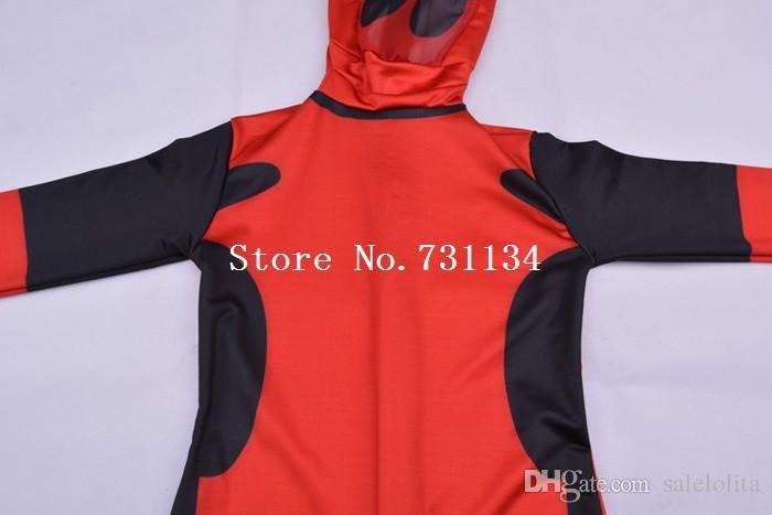 Bambini Deadpool Costume bambini rosso e nero Full Body Lycra Spandex BodySuit Bambino Supereroe Deadpool Zentai Suit Top Quality