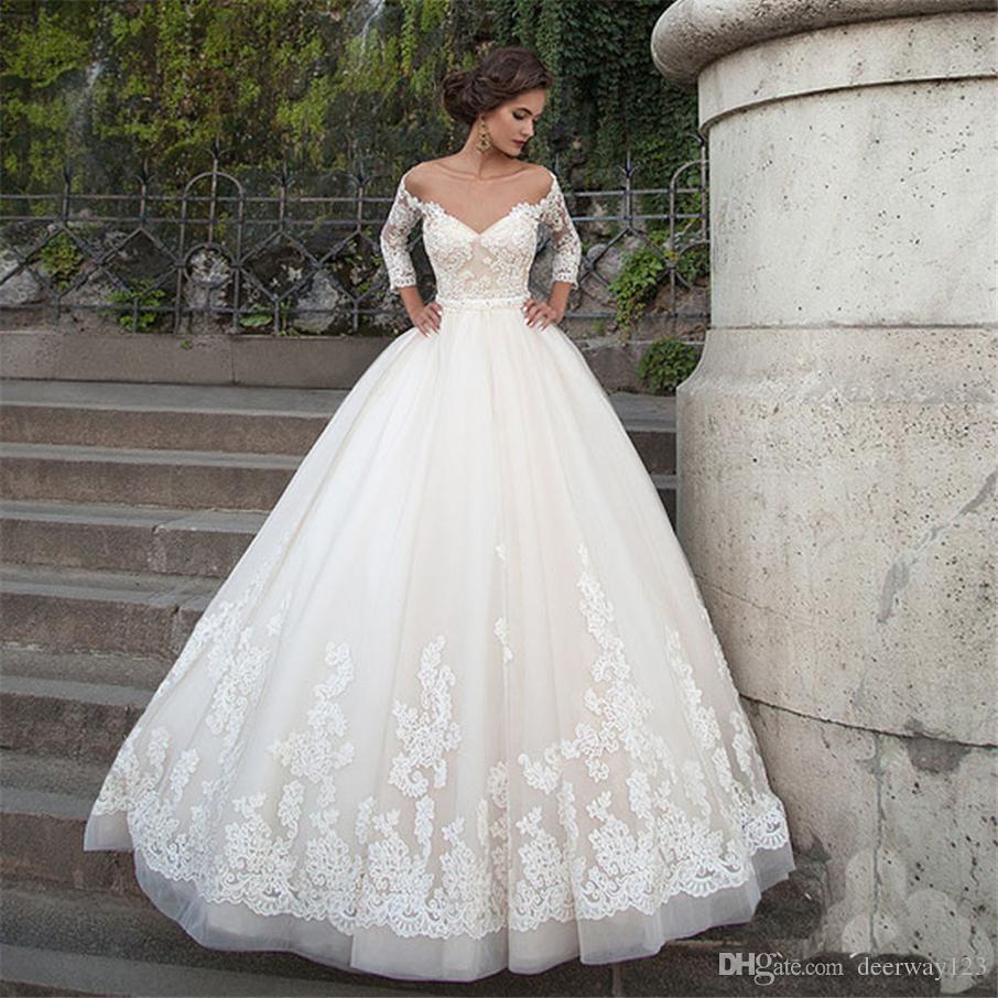 Off плеча Длинные рукава свадебное платье Тюль V-образным вырезом Backless Pearls Пояс Appliqes Кружева бальное суд поезд свадебное платье на заказ