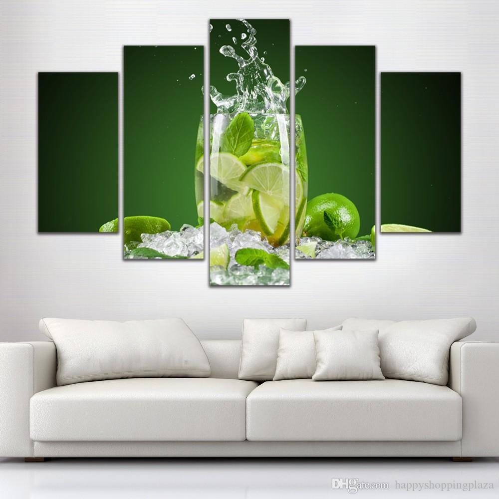Großhandel 5 Panel Malerei Glas Wein Obst Malerei Leinwand ...