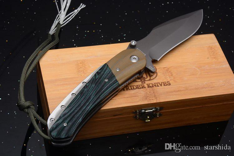 New Strider Huge Tactical Folding Knife D2 G10 Camping Hunting Survival Pocket Knife Military Utility EDC Gift With Wood Box