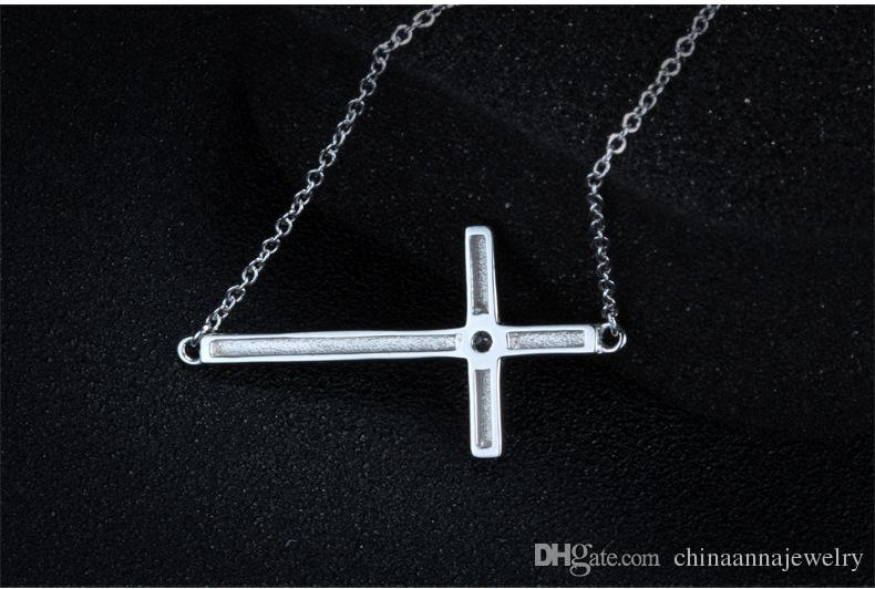 white rhodium plated cross necklace s925 sterling silver pendant necklace 2017 fashion cubic zirconia style necklace for women