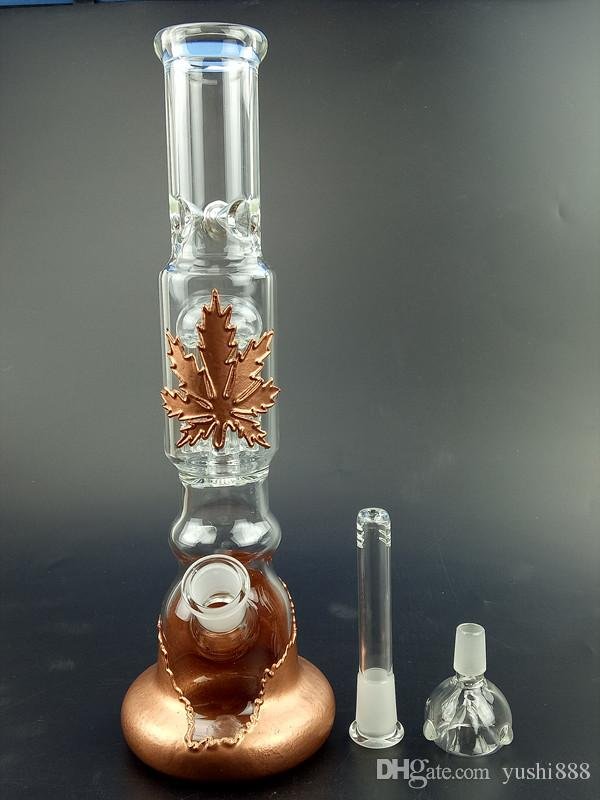Two function 8 arm perk percolators glass recycler glass bongs water pipe 18.8mm 12 inches high Gb053
