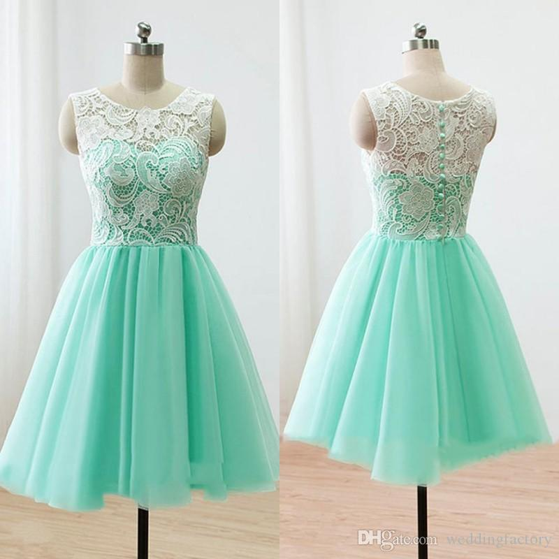 Turquoise Bridesmaid Dress 2017 Short Cheap White Ivory Lace Top Tulle  Skirt Above Knee Length Wedding Party Guest Gowns Sleeveless Gray Bridesmaid  Dress ... 070ccf25cadd