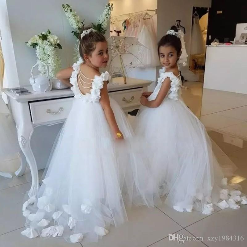 Wihte Tulle Flower Girl Dresses For Weddings 3D Floral Applique Pageant Girl Dress First Communion Dress White Puffy TuTu Girl Birthday Gown