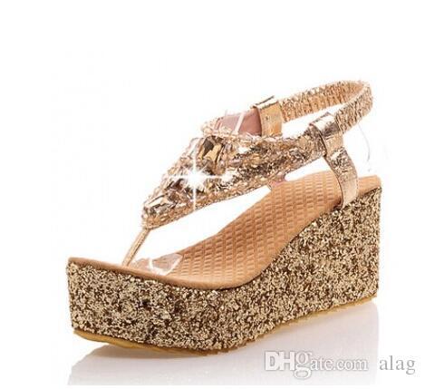 1f73fd6c6fc4 Women Summer Beach Sandals Flip Flops Lady Slippers Women Sandals Flip Flops  Diamand Shoes Women Platform Wedge Shoe Big Size 34 43 Mens Leather Boots  Mens ...