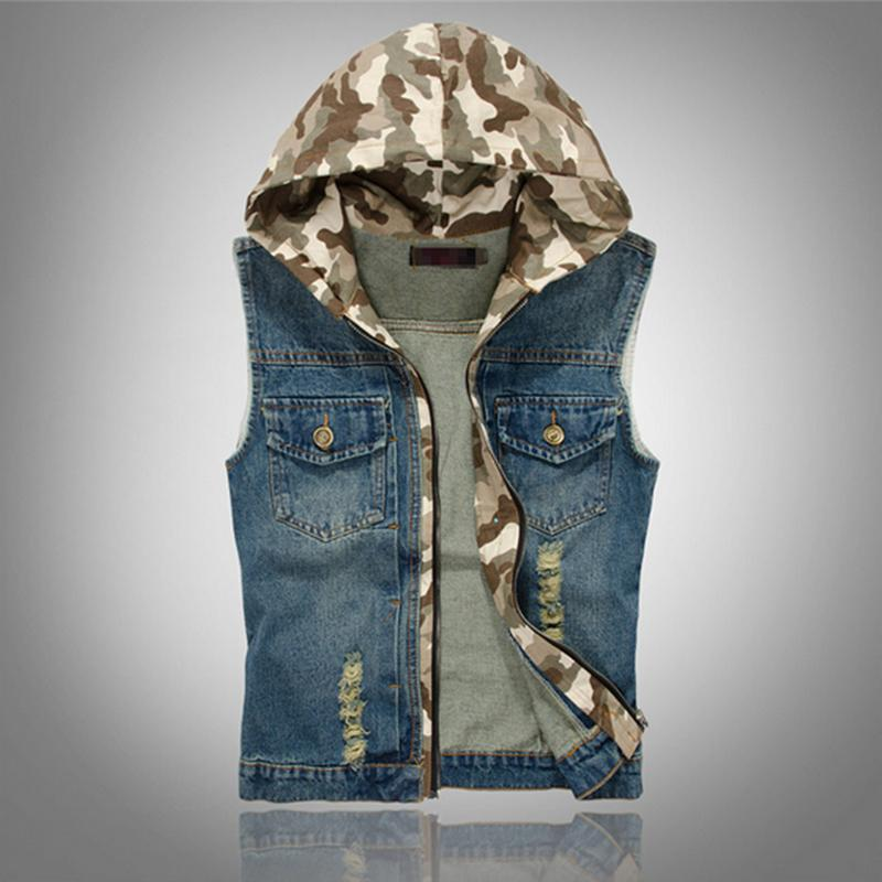 4a590904efd Wholesale- 2016 Mens Denim Vest Vintage Camouflage Hat Sleeveless washed  jeans waistcoat Man Cowboy ripped Jacket Plus Size Tank Top