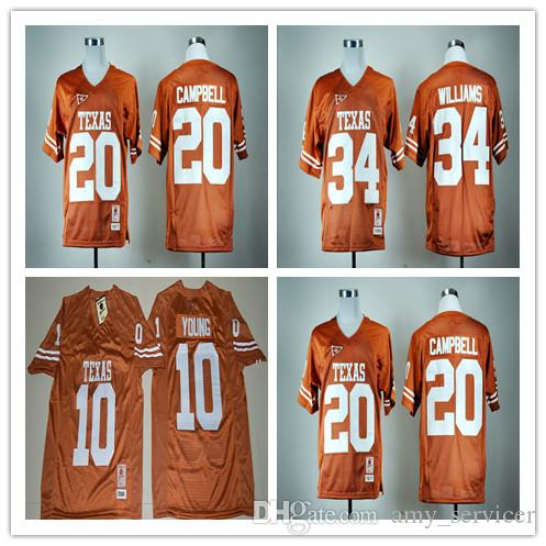 a70c1ad0f best price texas longhorns jerseys college retro 34 ricky williams rugby  shirts 20 earl campbell 10