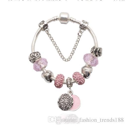 f3ccd2287 925 Sterling Silver Pink Murano Glass Beads Charm Round Rose Flower Pendant Heart  Crystal Bead Fit Women Pandora Bracelet Bangle Diy Jewelry Charm Bracelets  ...