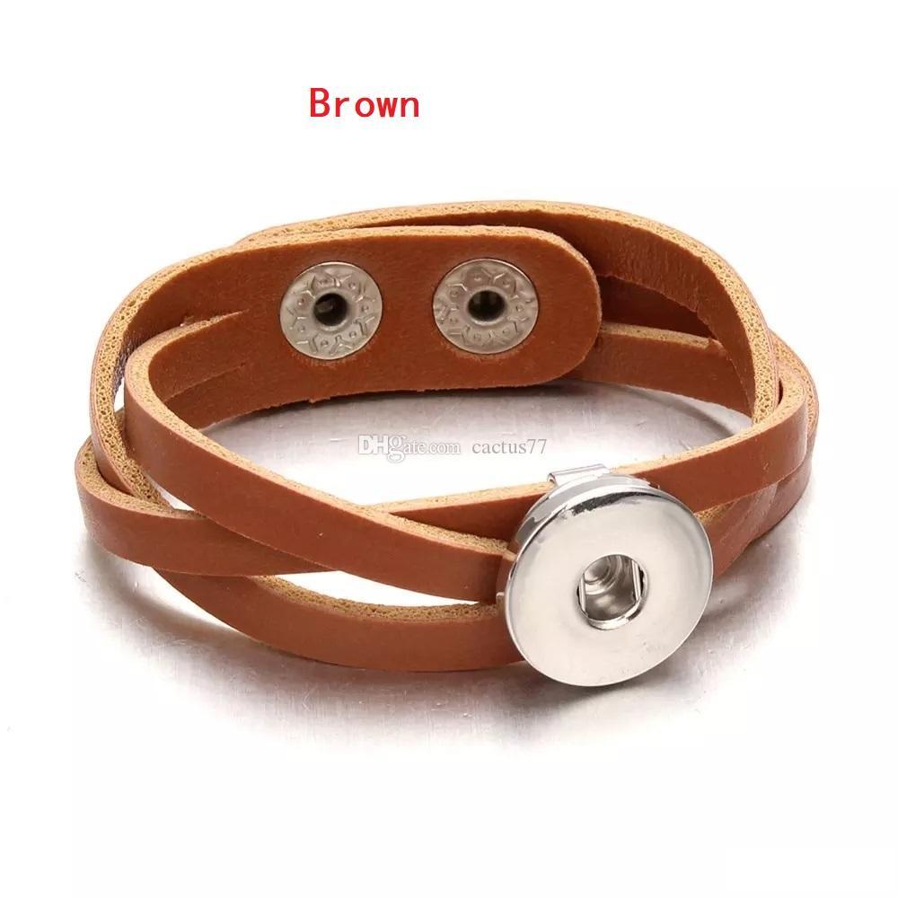 Nouveau 7 Couleurs Tressé En Cuir Snap Bouton Charmes Bracelet DIY 18mm Bouton Réglable Taille À La Main PU Punk Bracelet Bijoux