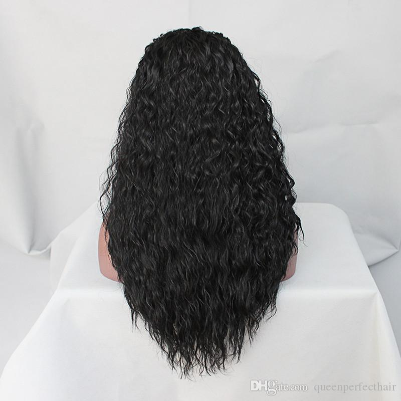 200% Density Long Loose Curly Synthetic Lace Front Wigs Heat Resistant Japan Fiber Black Color Hair Water Wave Wig for Fashion Black Women