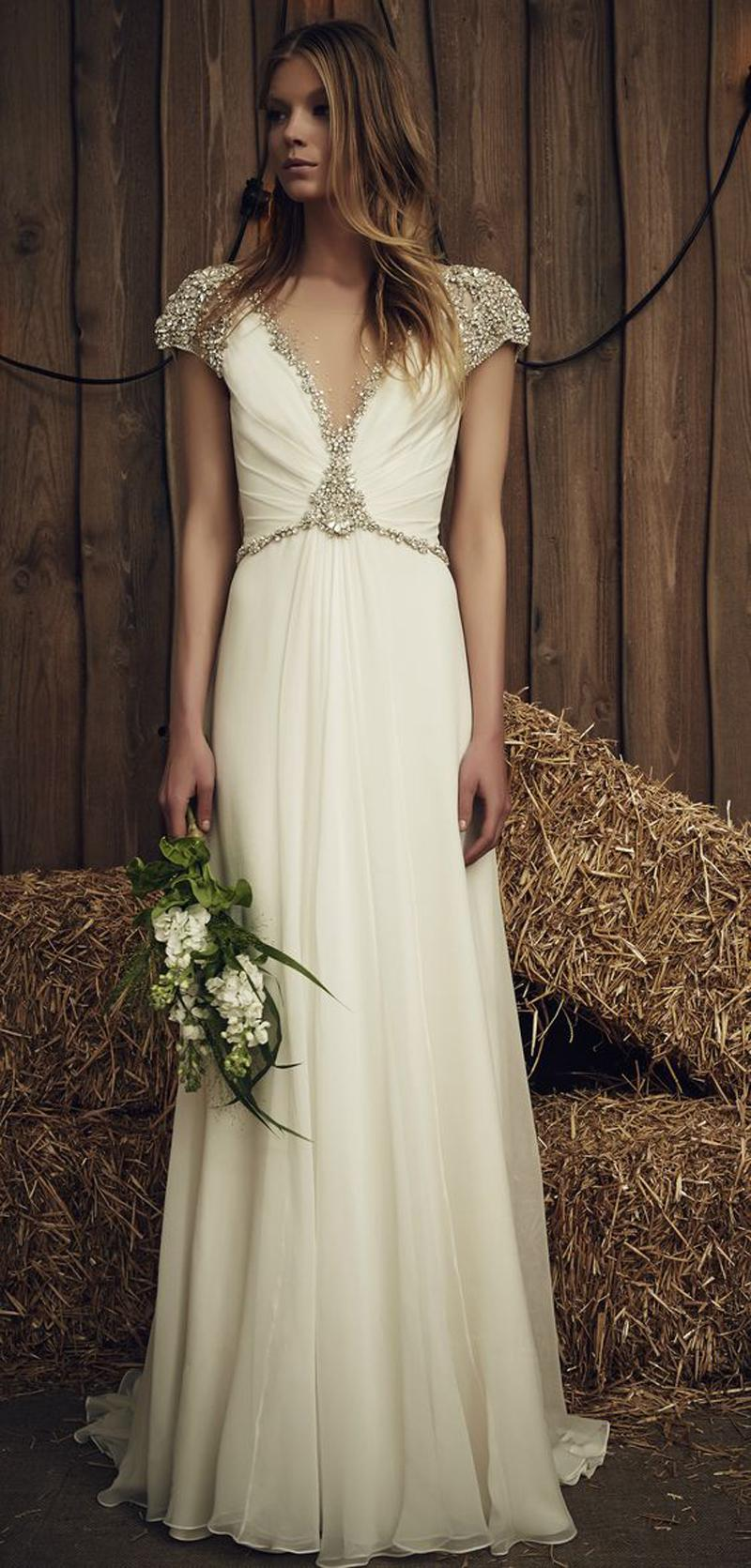 crystals beaded beach chiffon wedding dresses 2017 jenny packham bridal gowns bateau v-neck neckline sweep train wedding gowns
