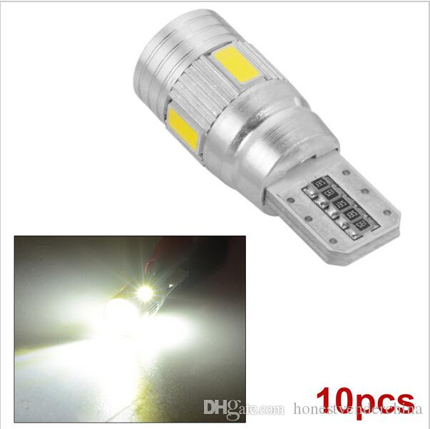 10X New parking HID White CANBUS T10 W5W 5630 6-SMD Car Auto LED Light Bulb Lamp 194 192 158 Projector Lens