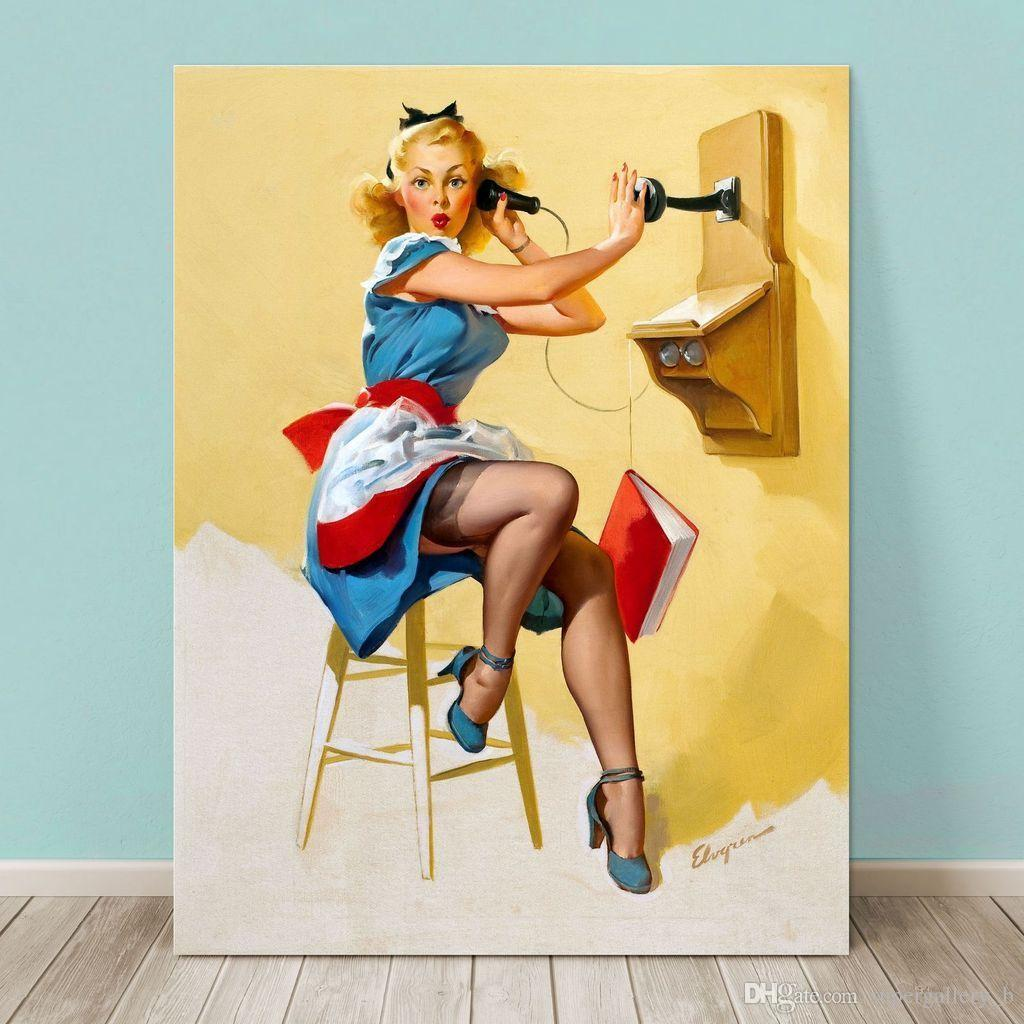 2018 Pinup Girl Gil Elvgren,Hand Painted Portrait Art Oil Painting ...