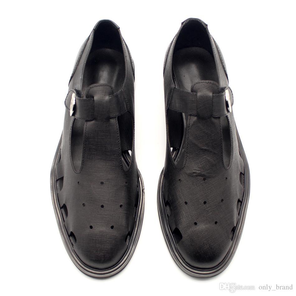 Creative Retro Découpes Respirant Hommes Sandales T-Boucle Boucle Confort Cuir Gaufré Chaussures Peau Cool