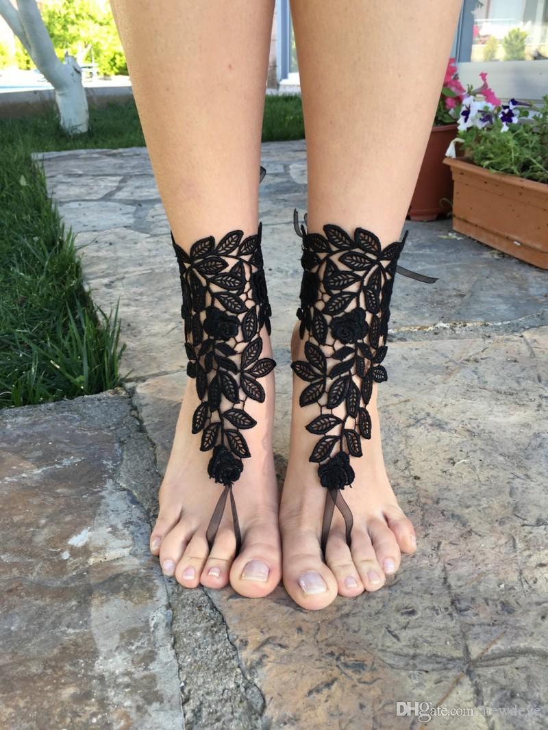 Black Lace Bridal Shoes For Beach Wedding Cheap Wedding Shoe 2019 Summer Custom Made Bridal Accessories