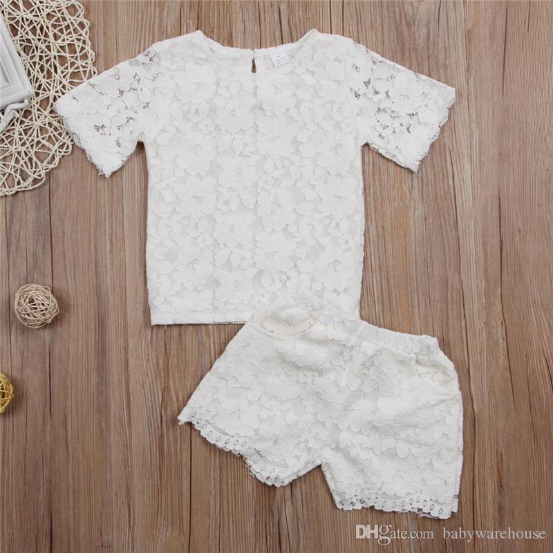 Toddler Giyim Bebek Çocuk Kız Dantel Kıyafetler Katı Kısa Kollu Prenses T gömlek Şort Cep Dantel Pantolon Kız Kıyafetler Bebek Giysileri Set