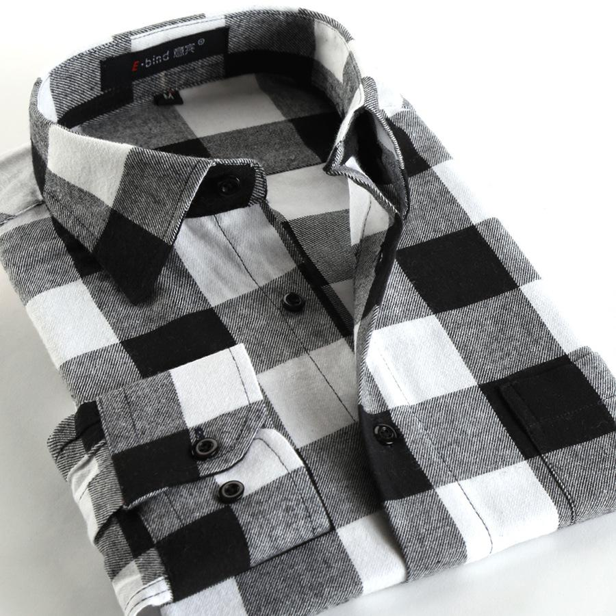 2017 wholesale black and white check shirt men with single chest