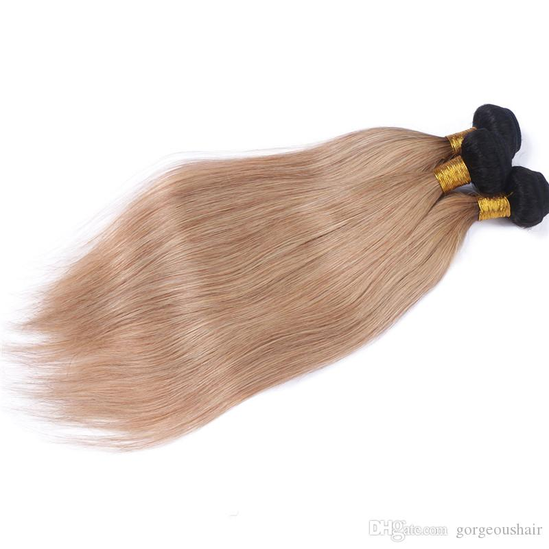 7A two tone ombre brazilian virgin hair straight 3 bundles color 1b/27 black root blonde brazilian human hair weave