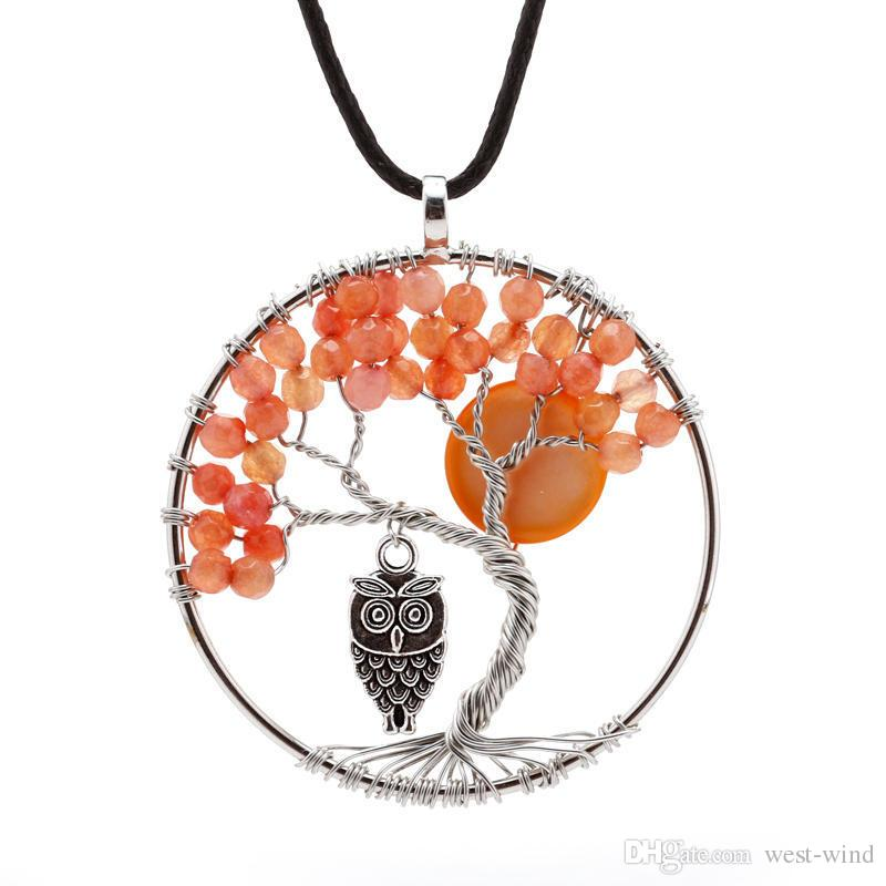 48mm 2 Styles Tree of Life Necklace Agate Bead Crystal Owl Pendant Wire Wrapped Metal Crystal DIY Jewelry Accessory Christmas Gift C184S