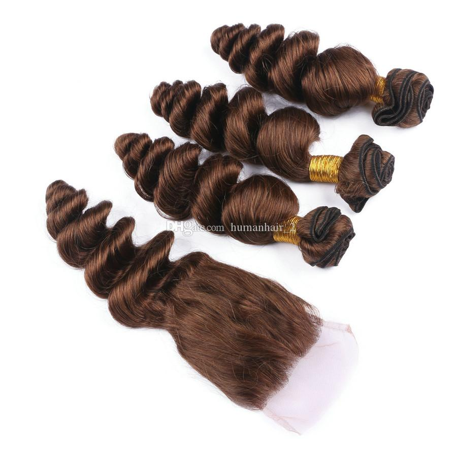 # 4 Cierre de encaje marrón con mechones Cabello suelto de color marrón con cierre de encaje 4 * 4 nudos blanqueados Tejidos de cabello humano virgen peruvain