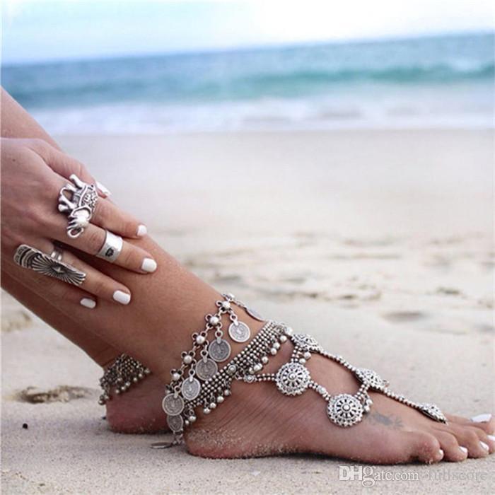 Silver Color Bohemian Women Bracelet Metal Sexy Beach Tassel Anklet Luxury Charm Coin Ankle Bracelets Femme Summer Style Jewelry 2017