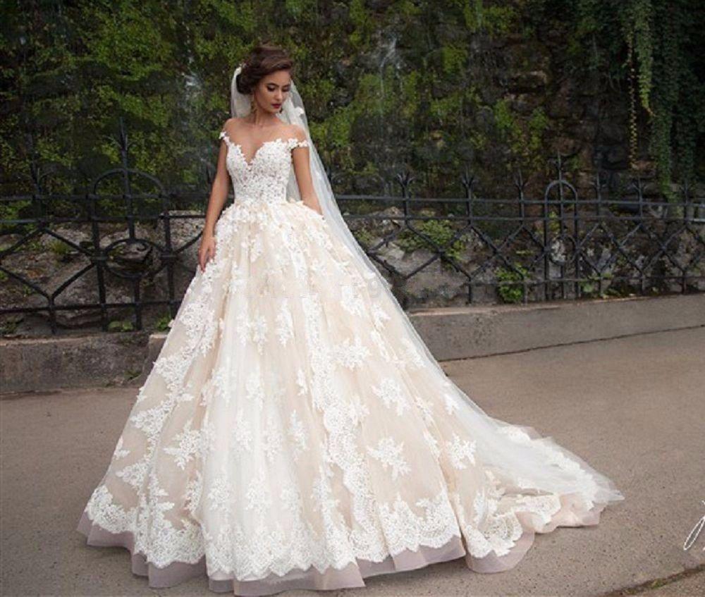 White Wedding Dresses Lace Appliques Arab Wedding Dress