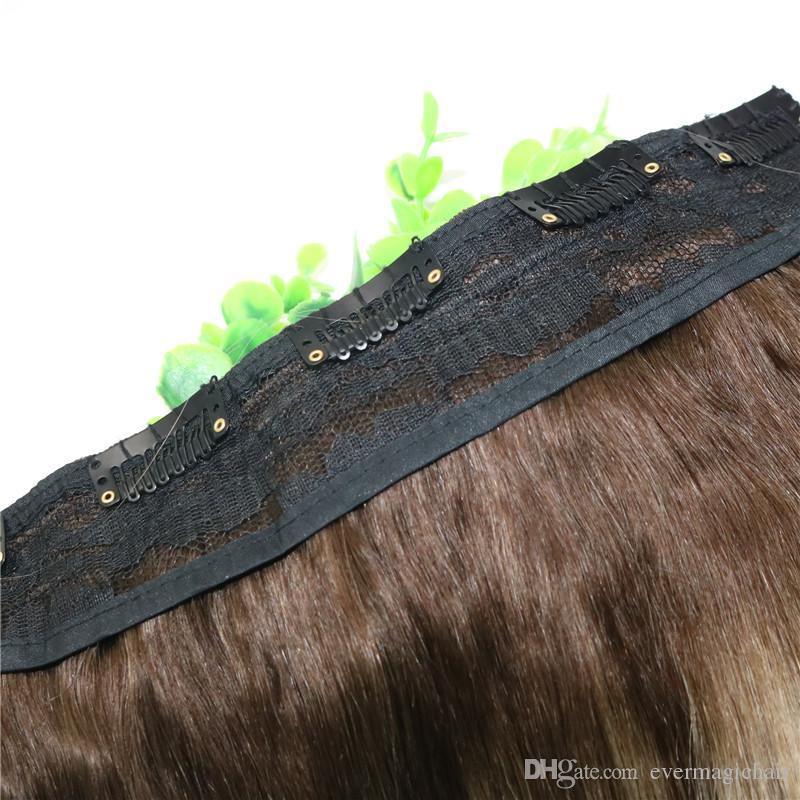 Ombre Ash Blonde With Warm Highlights Dark Brown Root One Piece Clip In Human Hair Extensions 5Clips Piece Brazilian Virgin Hair