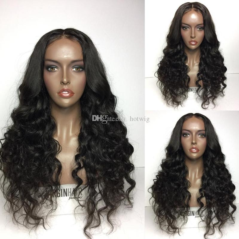 """Best Selling !!! 10""""-26"""" Inch Beautiful Natural wavy Indian Virgin Human Hair Full Lace Wig French Lace Best Quality"""