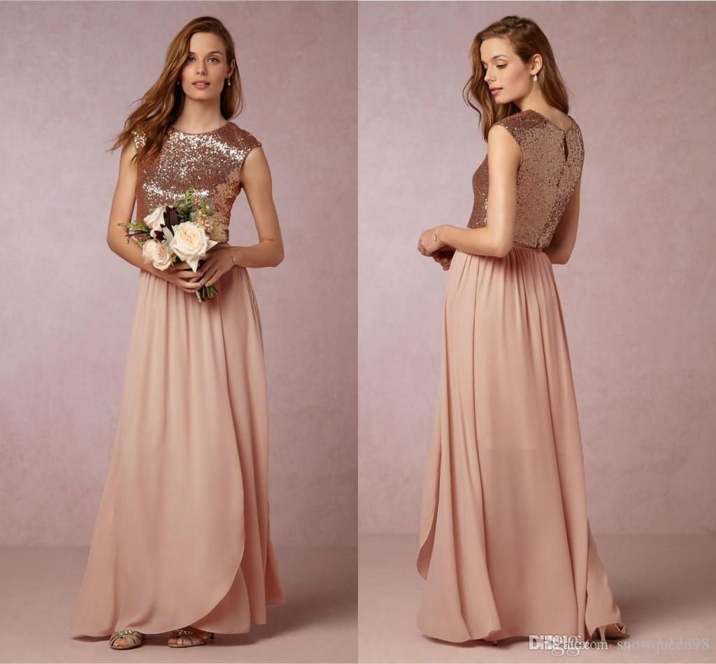 2017 New Two Pieces Blush Pink Bridesmaid Dresses Rose Gold Sequins Top Long Country Beach Honor Of Maid Wedding Party Guest Gowns Cheap Dusty