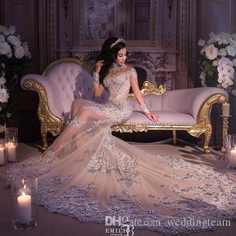 Modeste Sirène Train détachable Robe de mariée à manches longues à manches longues à manches longues Robe de mariée en cristal sur la robe de mariée en organza