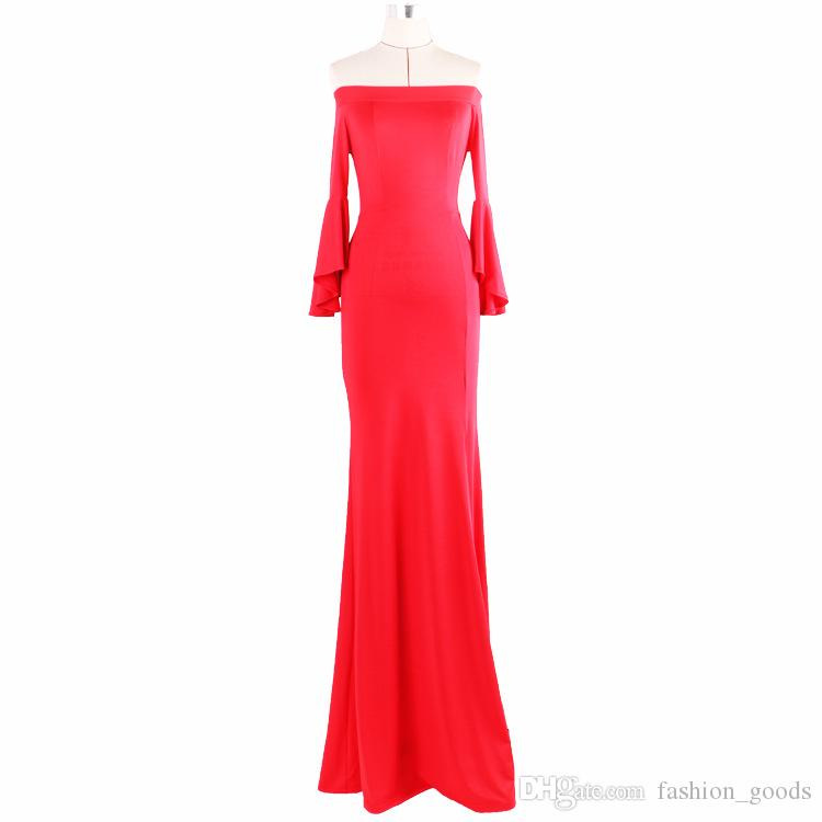 Best gift Autumn and winter new high-end evening dress explosion section sexy collar open dress N LX015