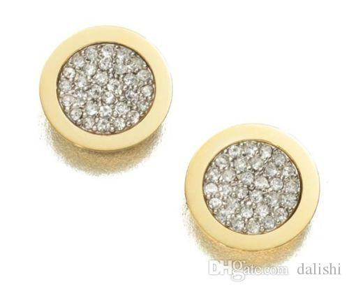 Moda 6Styles Altın Kaplama Altın / Gümüş / Rose Gold Kalp M $ K Tonu Kilit Anahtarı Yapay elmas Harf Stili Logo Stud Marka Küpe