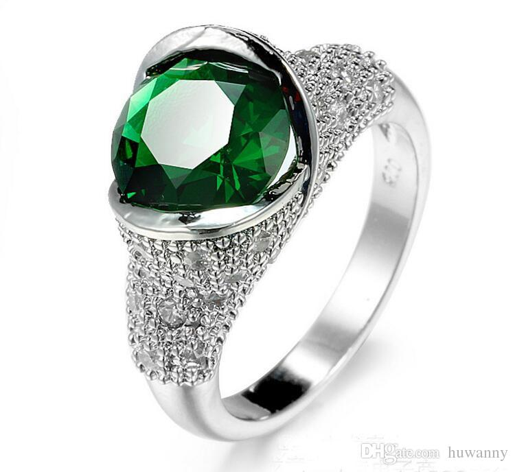 Silver Rings Hot Sale Crystal Finger Rings For Women Girl Party Fashion Jewelry Wholesale 0458WH