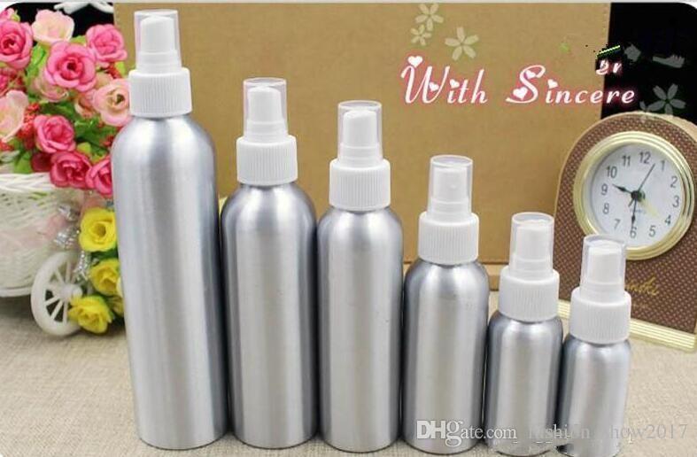 Bottiglia spray in alluminio Atomizzatore a nebbia fine Bottiglie spray profumo vuote Contenitore imballaggio cosmetico 30/50/100/120/150/250 ml