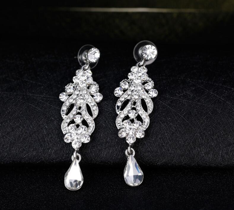 أنيقة كريستال الثريا أقراط استرخى الزفاف للمجوهرات الزفاف فضية اللون حجر الراين الأزياء حفل زفاف المجوهرات