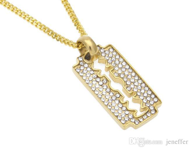 Hot SALE new top Men Women Razor Blade Necklace & Pendant Charm Bling Rhinestone Gold Color Stainless Steel Metal Necklace Trendy Jewelry