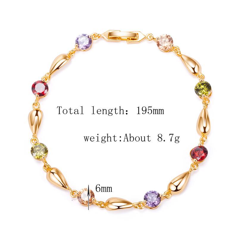Шарм ювелирные изделия 18K желтое золото покрытием высокое качество CZ Waterdrop браслет Браслет для девочек женщин для партии SL0071