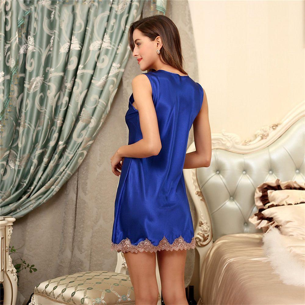 y Lace Silk Satin Night Dress Sleeveless Nighties V neck