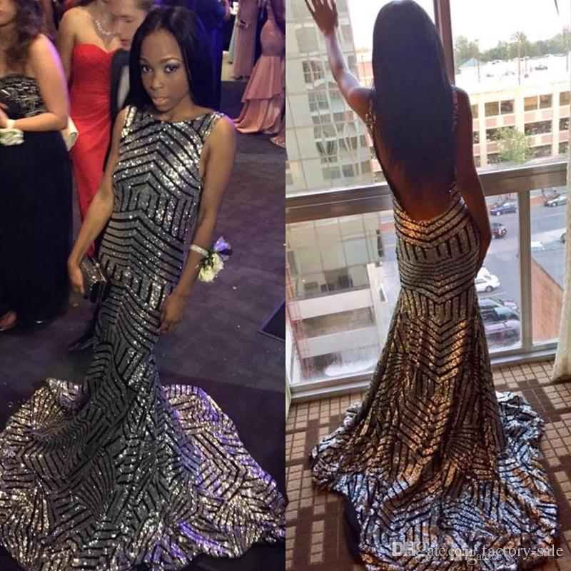 Sparkle Silver Black Sequined Prom Dresses Mermaid 2017 Sexy Open ...