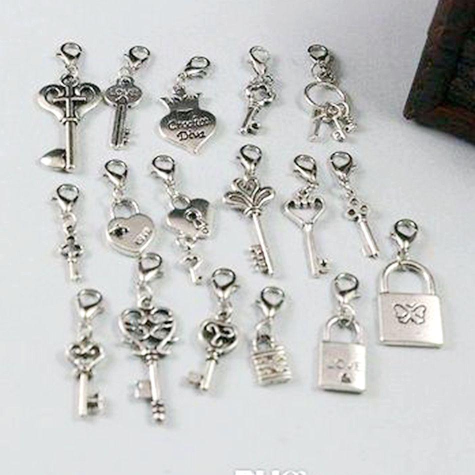 Hot! Antique Argent mélangé Couronne de coeur de verrouillage / clés Perles Dangle et le homard fermoir bricolage bijoux 17 de style