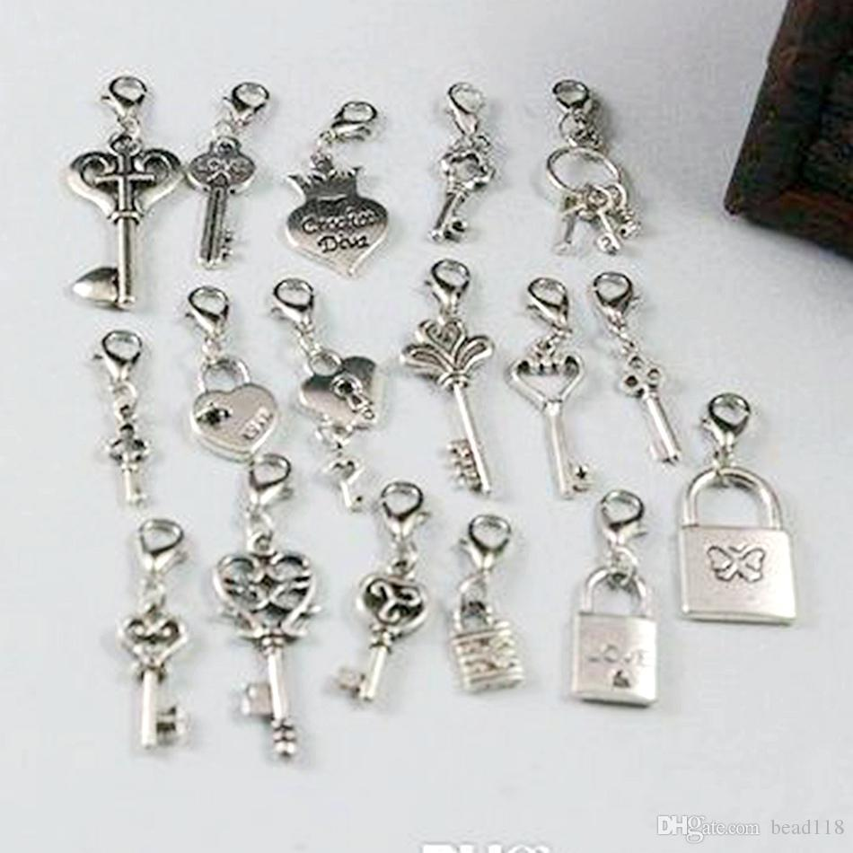 Hot ! Antique Silver mixed Heart Crown Lock / Key Dangle Beads And Lobster Clasp DIY Jewelry 17 style