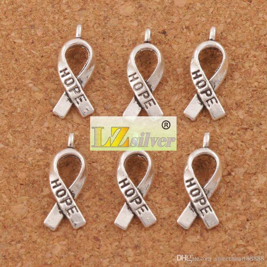 Awareness Hope Ribbon Metal Alloy Charms / 7.7x18.6mm Tibetansk silverhängen Mode Fit Armband Halsband Örhängen L088