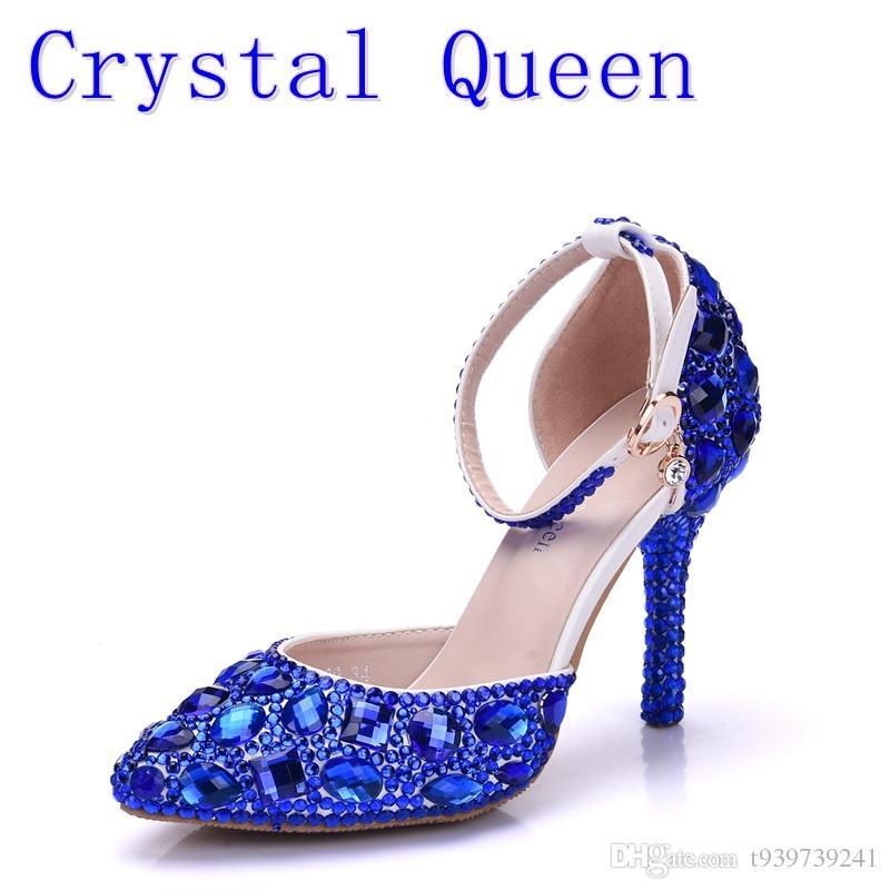 Crystal Queen Lady High Heels Sandals Wedding Shoes Diamond Blue Crystal  Shoes Woman Wedding Photo Studio Wedding Dress Shoes Dansko Sandals Tall  Gladiator ... fd6f51e0ffe8