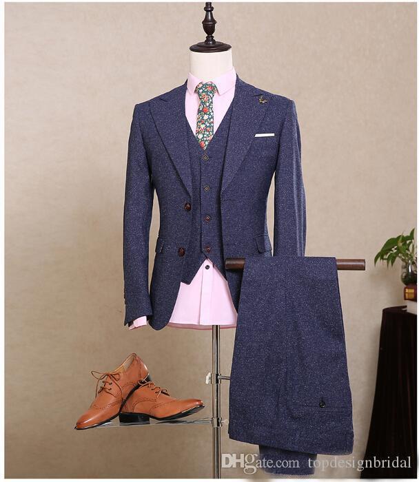 Compre Moda Azul 2 Botones Ventilación Lateral Atrás Personalizado Sirve  Trajes Ternos Traje De Esmoquin Formal 3 Piezas Chaqueta + Pantalón +  Chaleco Novio ... 44df6506d03
