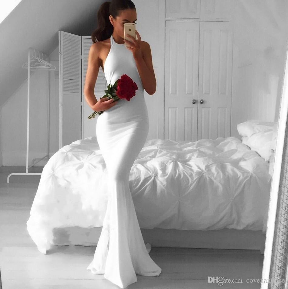 Sexy White Evening Dresses Long Mermaid 2017 Backless Simple Halter Cheap Arabic African Prom Dressess Plus Size Formal Party Gowns
