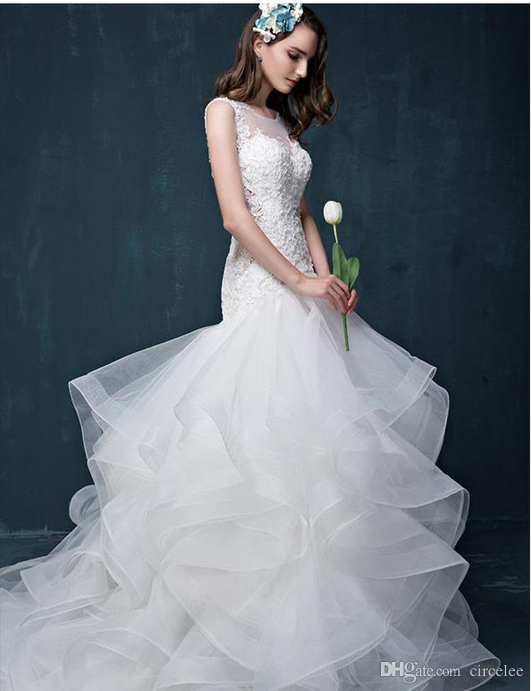 Discount 2017 Modest Sweetheart Simple White Wedding Gowns Wave Details Tiered Skirts Beautiful Bridal Dress Online Circelee Best A Line