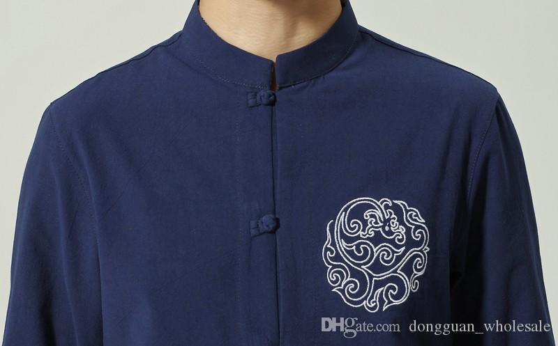 Marineblau Männer Baumwolle Kung Fu Shirt chinesischen Stil Kurzarm Tang Kleidung Größe S M L XL XXL XXXL Hombre Camisa